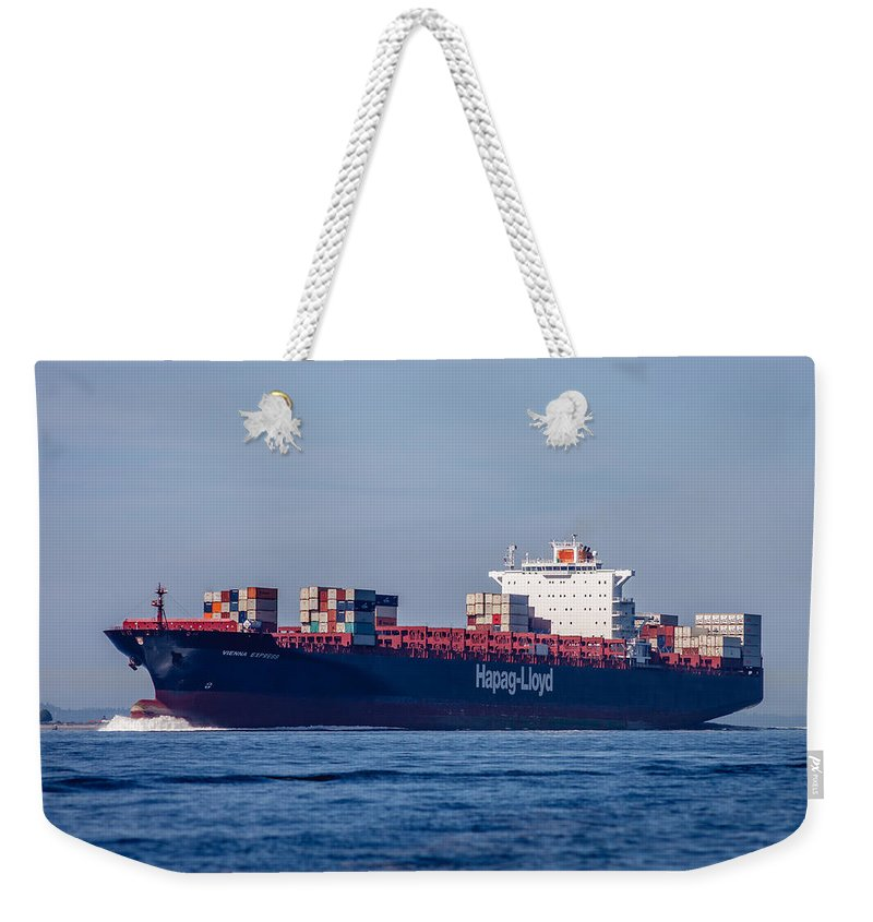 Container Weekender Tote Bag featuring the photograph Vienna Express Ship by Mike Penney