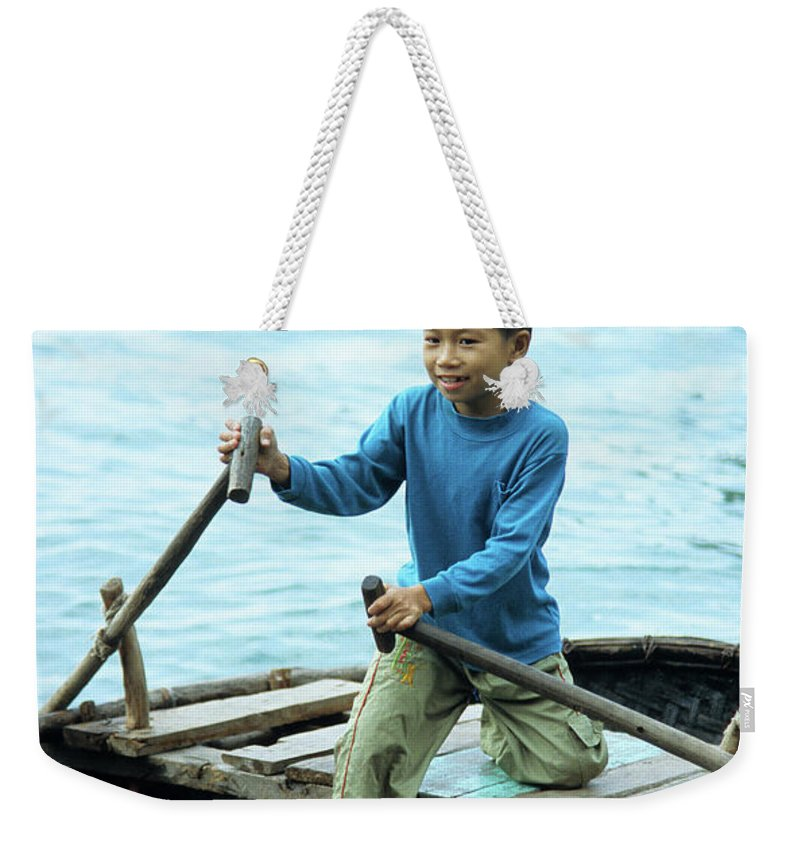 Vietnam Weekender Tote Bag featuring the photograph Vietnamese Boy by Rick Piper Photography