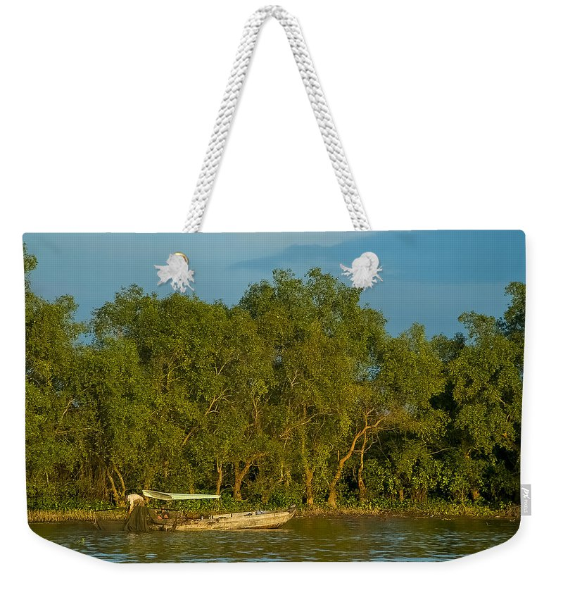Asia Weekender Tote Bag featuring the photograph Vietnamese Fishing by Mark Llewellyn