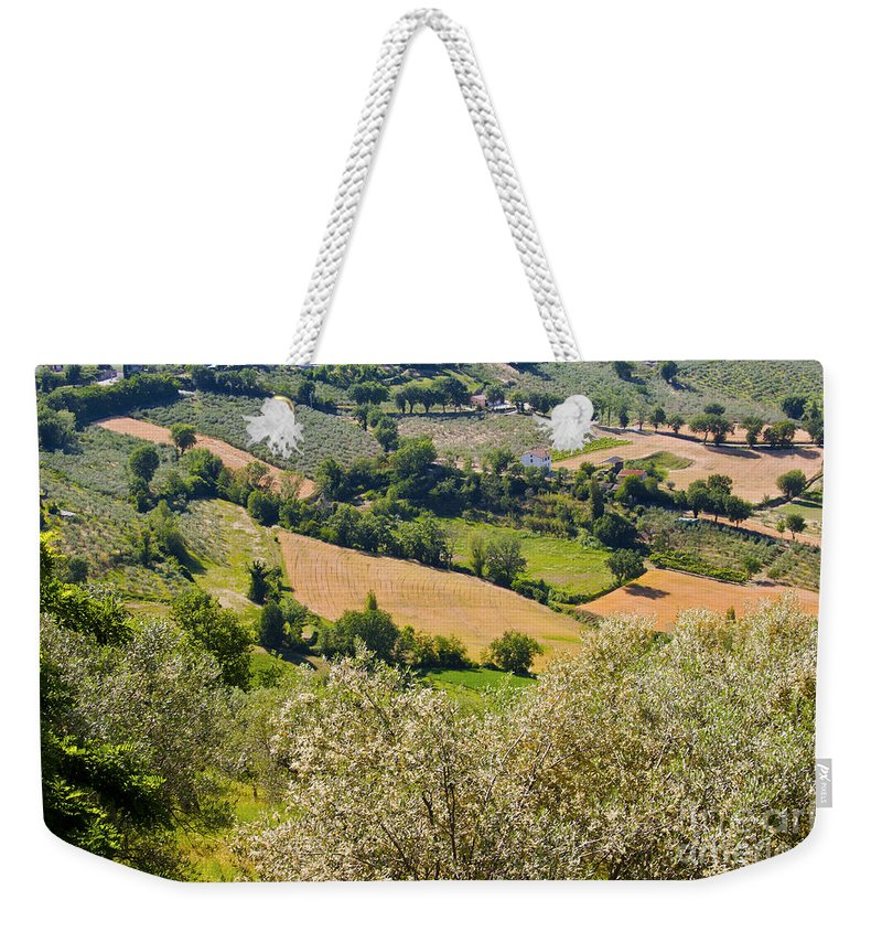 Umbrian Italian Countryside Tree Trees Field Fields Farm Farms Farmland Montefalco Italy Landscape Landscapes Weekender Tote Bag featuring the photograph View At Montefalco by Bob Phillips