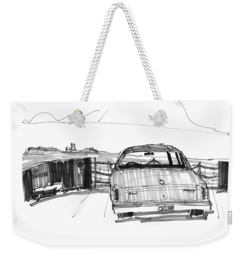 Cape Hatteras Weekender Tote Bag featuring the drawing View From The Hatteras Ferry by Richard Wambach
