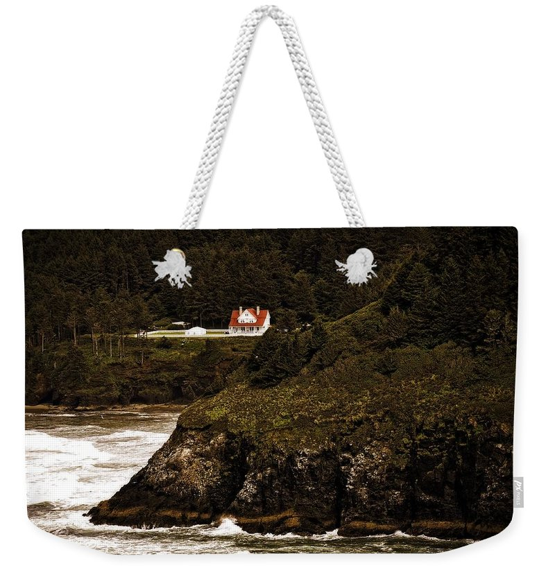 Heceta Head Weekender Tote Bag featuring the photograph View From The Keeper's House by Image Takers Photography LLC - Laura Morgan