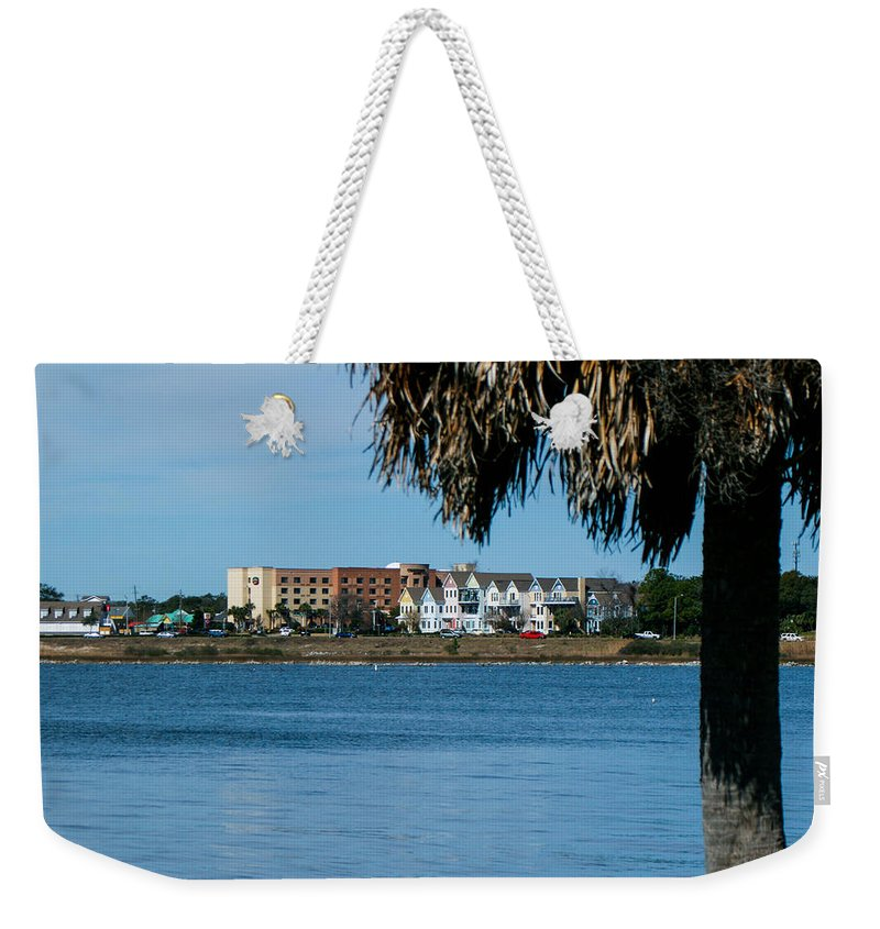 Palm Tree Weekender Tote Bag featuring the photograph View From The Palms by Mechala Matthews