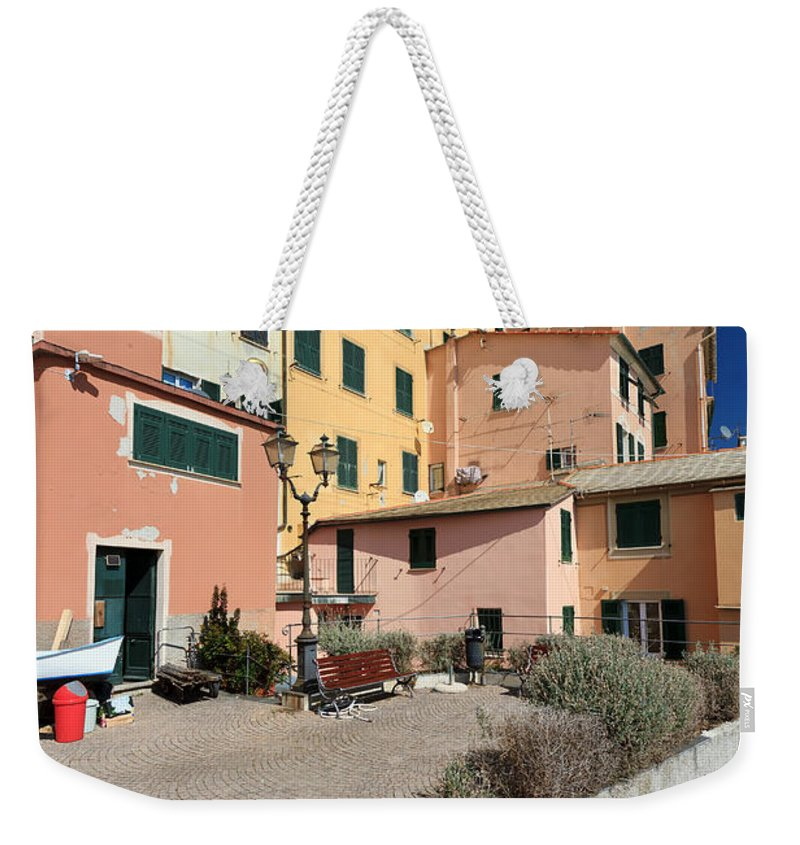 Ancient Weekender Tote Bag featuring the photograph view in Sori Italy by Antonio Scarpi
