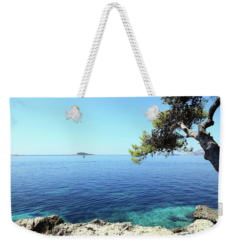 Water's Edge Weekender Tote Bag featuring the photograph View Of Dubrovnik From Cavtat Peninsula by Vuk8691