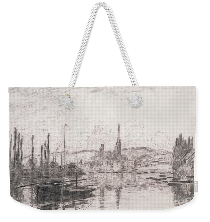 French Weekender Tote Bag featuring the drawing View Of Rouen by Claude Monet