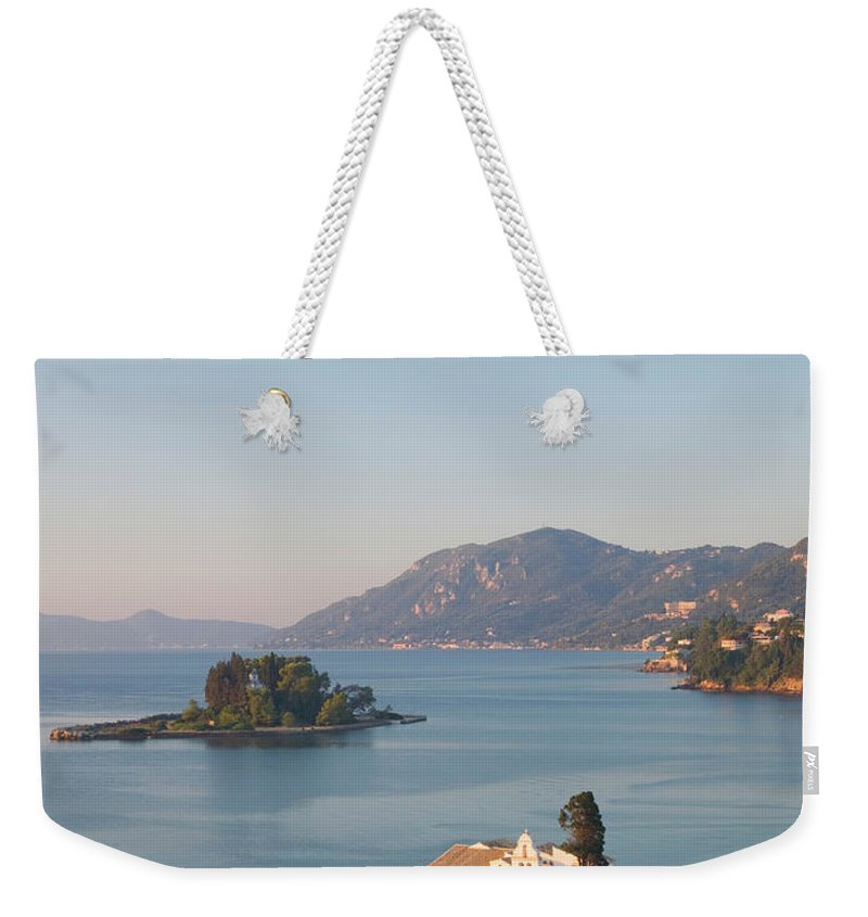 Scenics Weekender Tote Bag featuring the photograph View To Vlacherna Monastery, Kanoni by David C Tomlinson