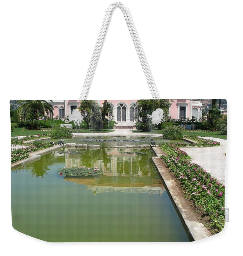 Villa Weekender Tote Bag featuring the photograph Villa Ephrussi De Rothschild With Reflection by Christiane Schulze Art And Photography