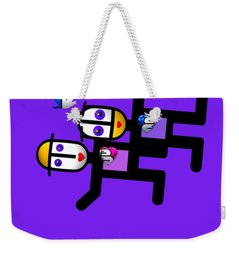 U Babe Weekender Tote Bag featuring the painting Village Life by Charles Stuart