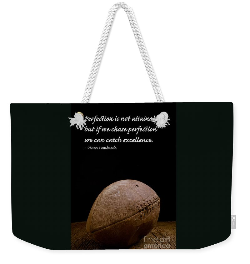 Football Weekender Tote Bag featuring the photograph Vince Lombardi on Perfection by Edward Fielding