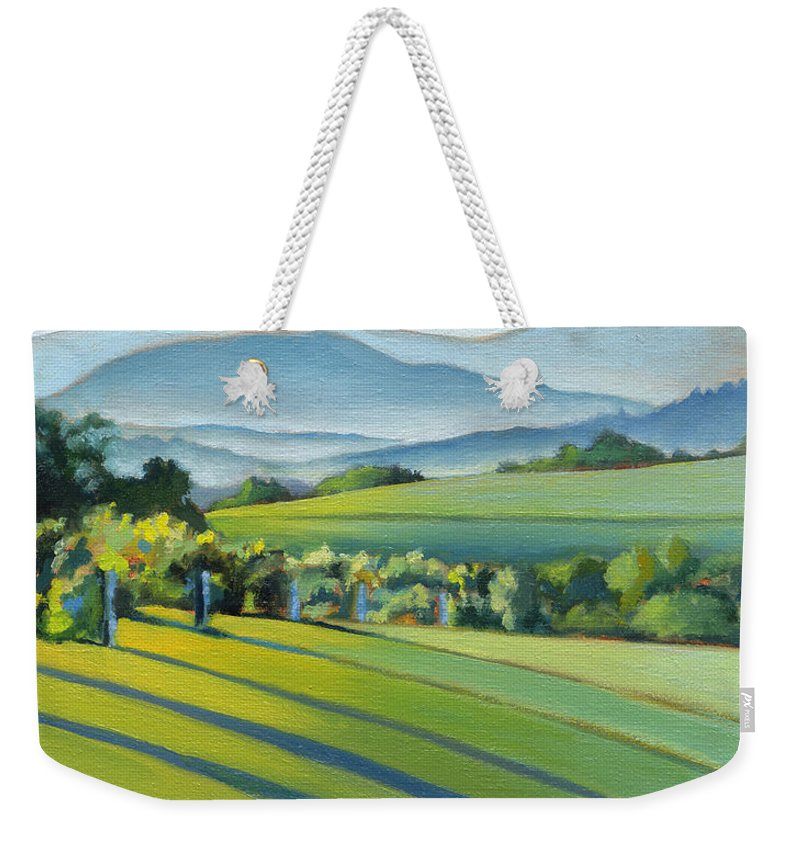 Twomey Weekender Tote Bag featuring the painting Vineyard Blue Ridge On Buck Mountain Road Virginia by Catherine Twomey
