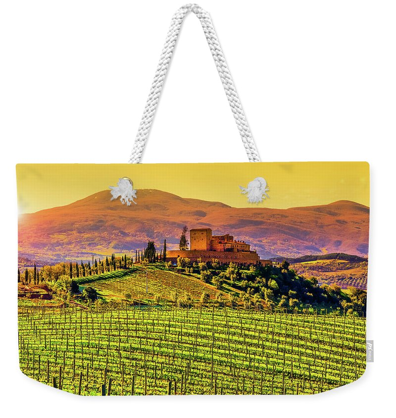 Scenics Weekender Tote Bag featuring the photograph Vineyard In Tuscany by Deimagine