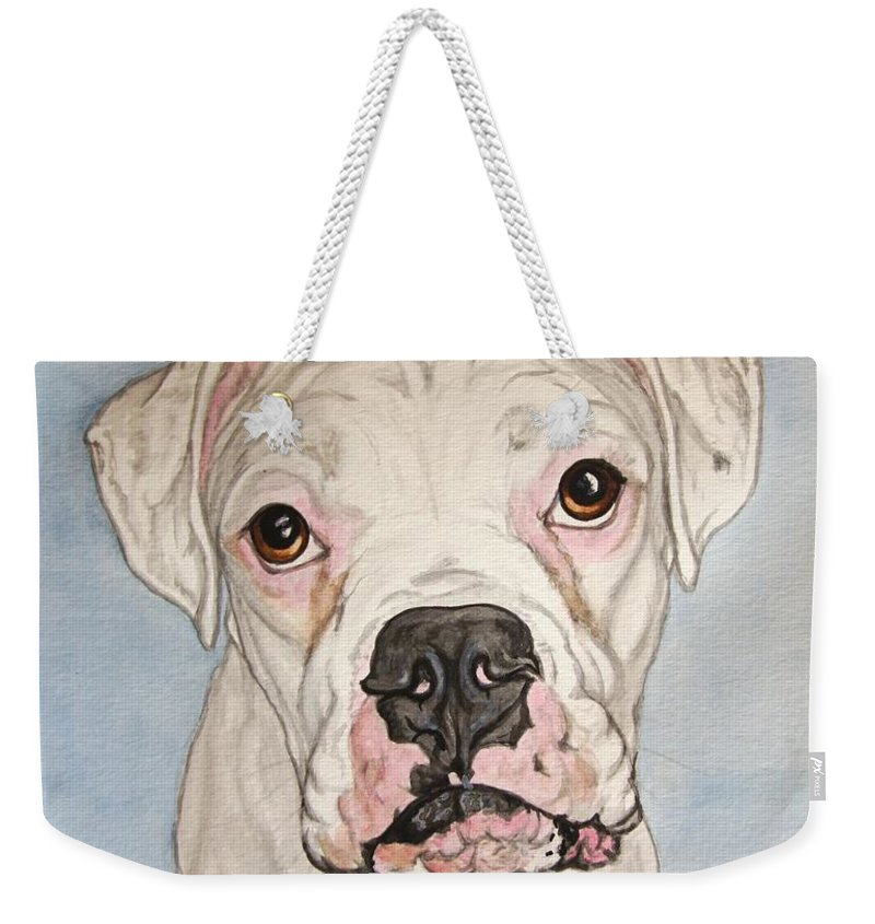 White Boxer Weekender Tote Bag featuring the painting Vinnie The White Boxer by Megan Cohen