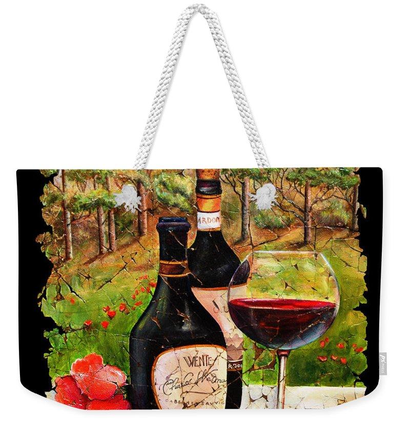 Fresco Weekender Tote Bag featuring the painting Vino by OLena Art Lena Owens