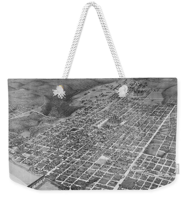 Austin Weekender Tote Bag featuring the photograph Vintage 1887 Austin Texas Map by Stephen Stookey