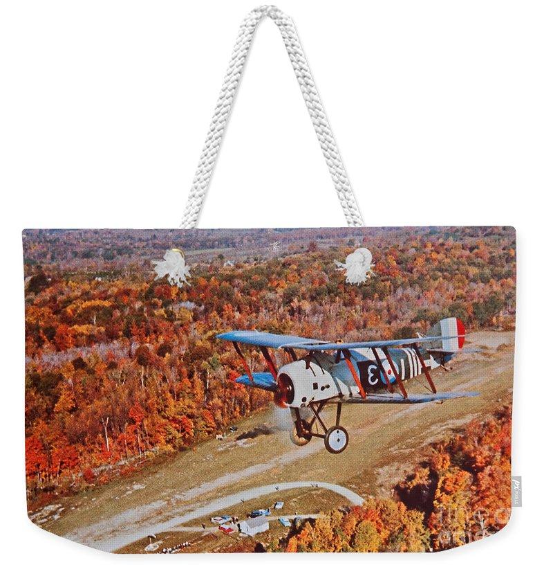 Vintage Weekender Tote Bag featuring the photograph Vintage Airplane Postcard Art Prints by Valerie Garner