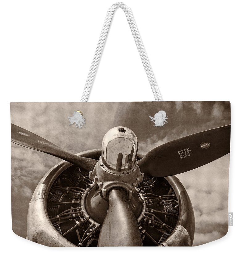 3scape Weekender Tote Bag featuring the photograph Vintage B-17 by Adam Romanowicz