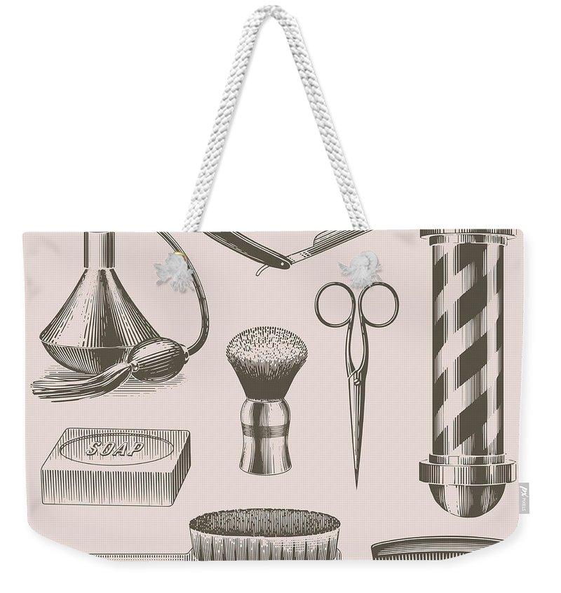 English Culture Weekender Tote Bag featuring the digital art Vintage Barbershop Objects by Darumo