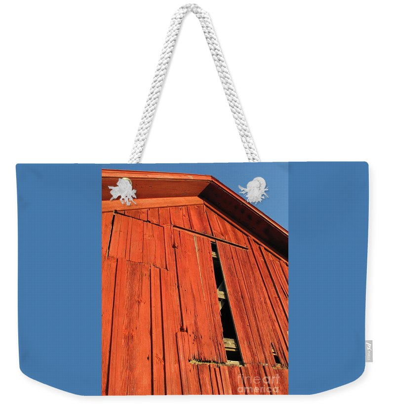 Barn Weekender Tote Bag featuring the photograph Vintage Barn Aglow by Ann Horn
