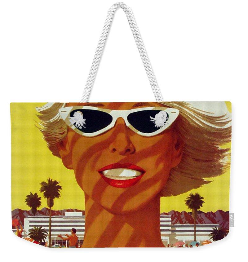 Beach Weekender Tote Bag featuring the digital art Vintage Beach by Georgia Fowler