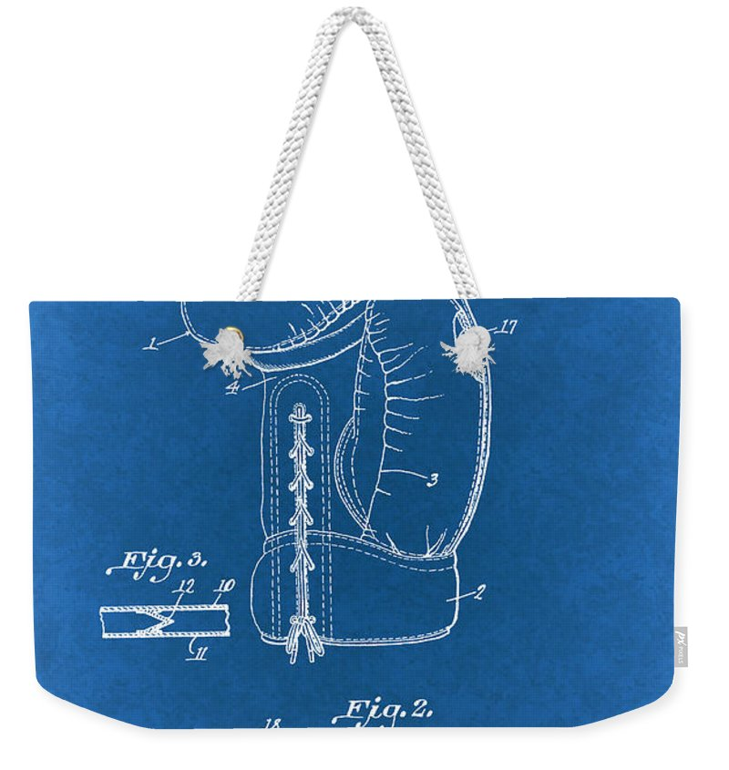 Patent Weekender Tote Bag featuring the drawing Vintage Boxing Glove Patent 1927 by Mountain Dreams