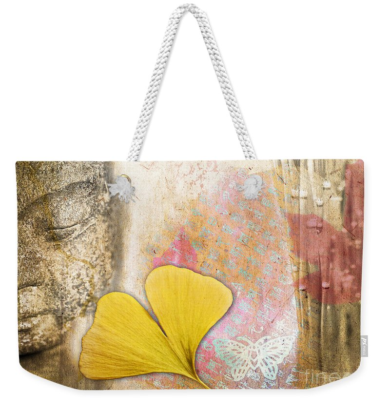 Buddha Weekender Tote Bag featuring the photograph Vintage Buddha And Ginkgo by Delphimages Photo Creations