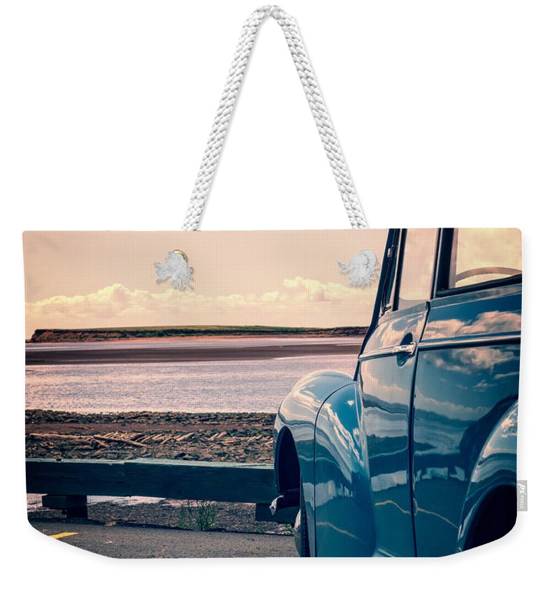 Beach Weekender Tote Bag featuring the photograph Vintage Car At The Beach by Edward Fielding
