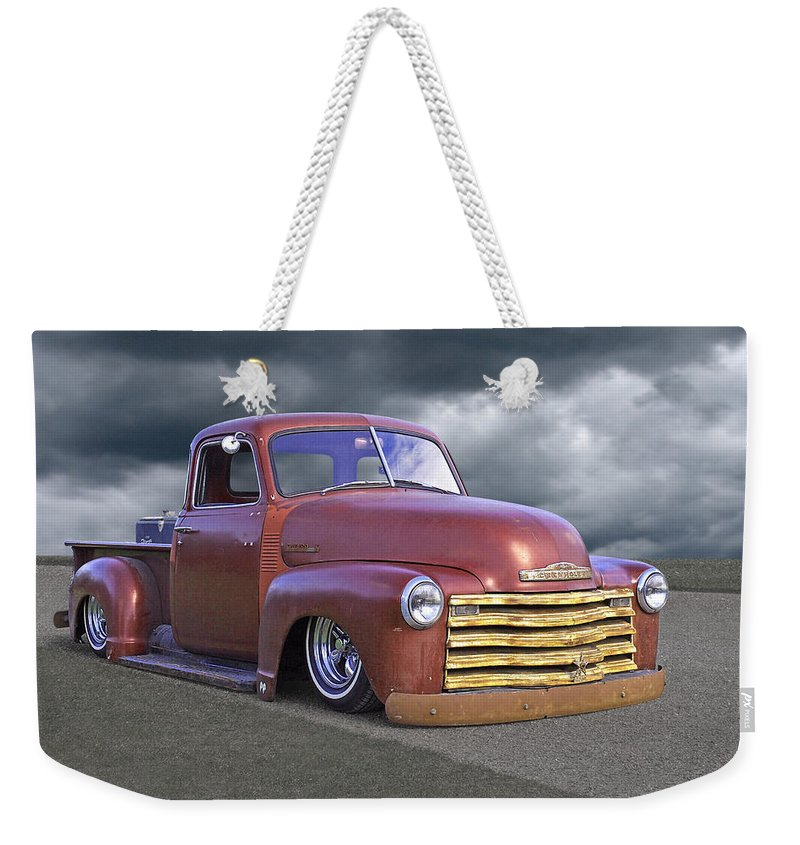 Chevrolet Truck Weekender Tote Bag featuring the photograph Vintage Chevy 1949 by Gill Billington