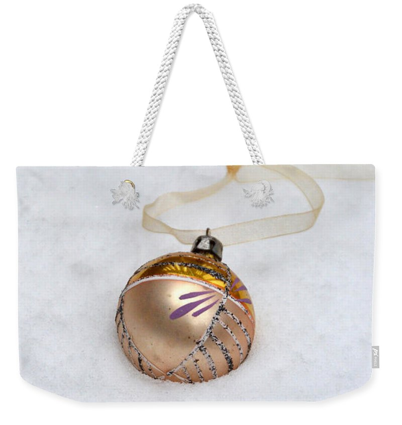 Ornament Weekender Tote Bag featuring the photograph Vintage Christmas Ornament In Snow by Jill Battaglia