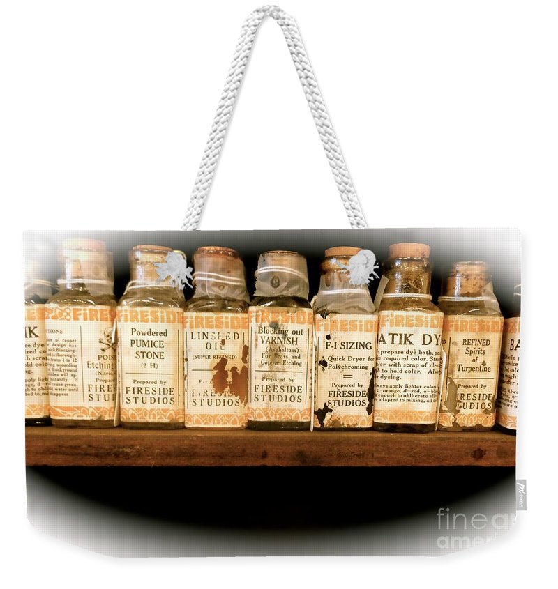 Vintage Weekender Tote Bag featuring the photograph Vintage Dye Bottles by Saundra Myles