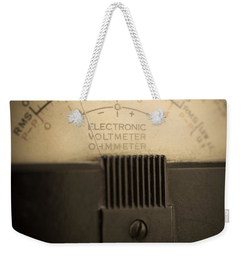 Volts Weekender Tote Bag featuring the photograph Vintage Electric Meter by Edward Fielding