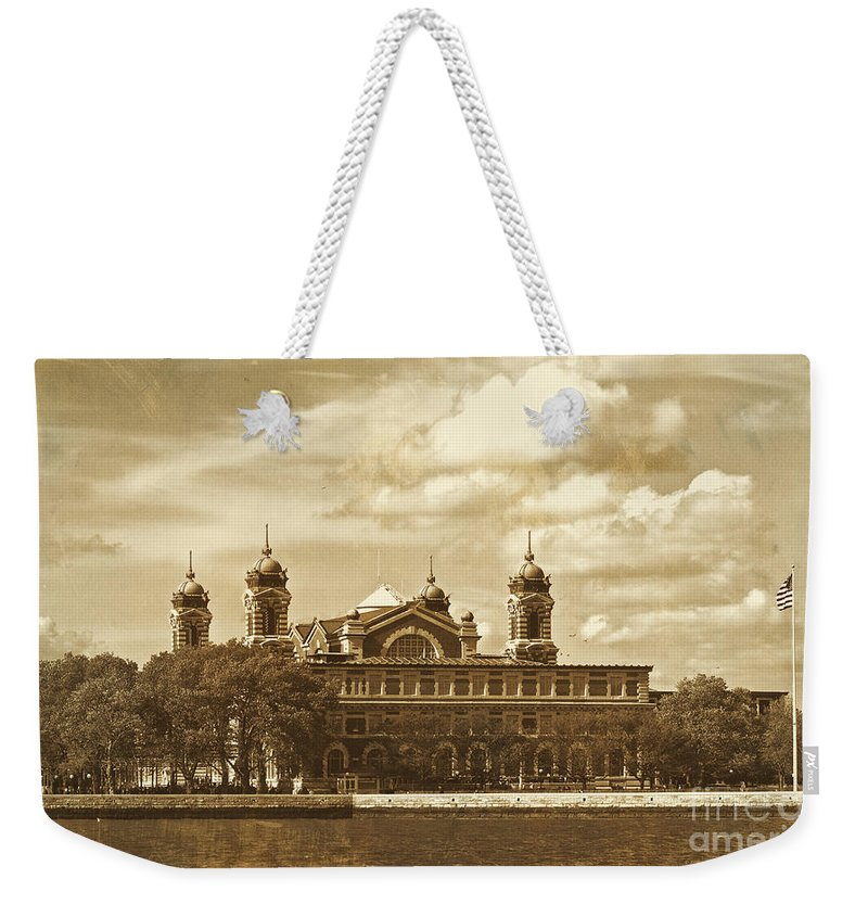 Nyc Weekender Tote Bag featuring the photograph Vintage Ellis Island by Eleanor Abramson