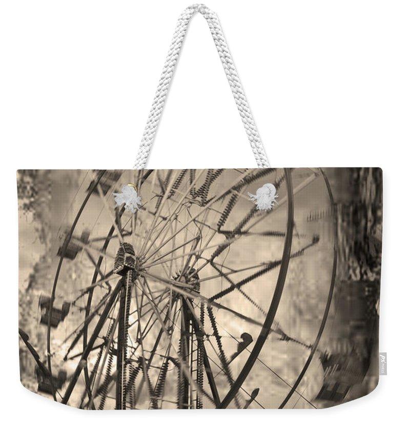 Ferris Wheel Weekender Tote Bag featuring the photograph Vintage Ferris Wheel by Theresa Tahara