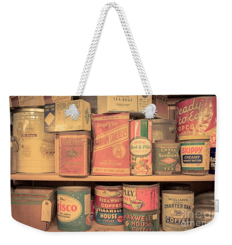 Food Weekender Tote Bag featuring the photograph Vintage Food Pantry by Edward Fielding