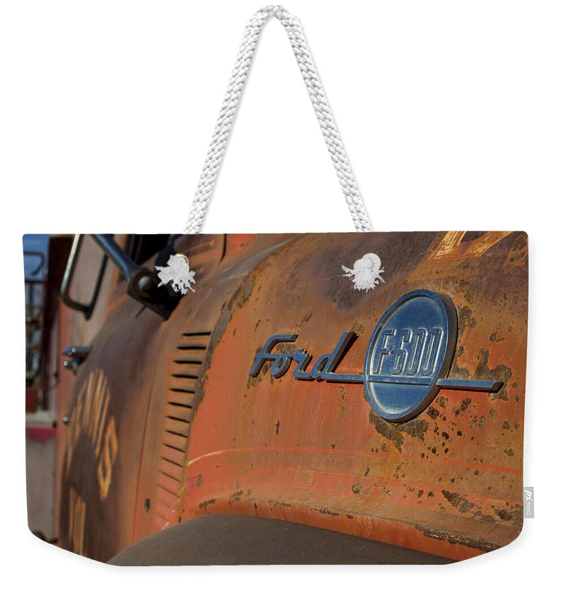 Ford Weekender Tote Bag featuring the photograph Vintage Ford by Jayme Spoolstra
