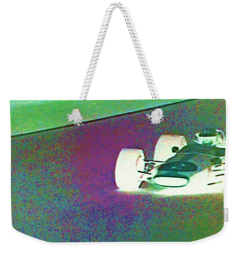 Formula 1 Racing Weekender Tote Bag featuring the photograph Vintage Formula 1 Race by George Pedro