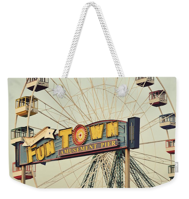 Vintage Weekender Tote Bag featuring the photograph Vintage Funtown Ferris Wheel by Terry DeLuco