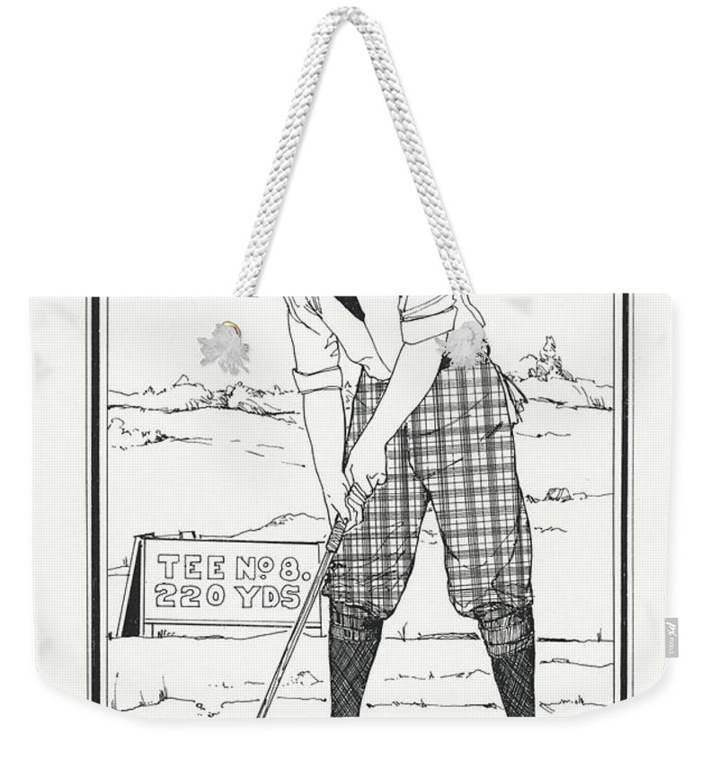 Golf Weekender Tote Bag featuring the drawing Vintage Golfer 1900 by Ira Shander