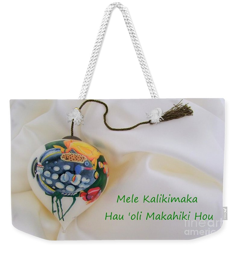 Christmas Weekender Tote Bag featuring the photograph Vintage Hawaiian Christmas Bulb by Mary Deal