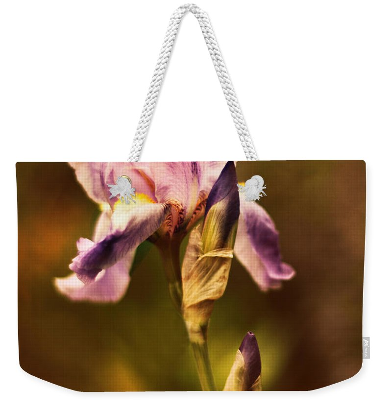 Iris Weekender Tote Bag featuring the photograph Vintage Iris by Jessica Jenney