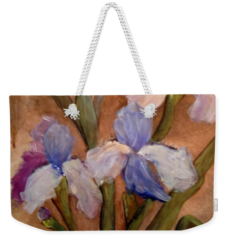Iris Weekender Tote Bag featuring the painting Vintage Iris by Sherry Harradence