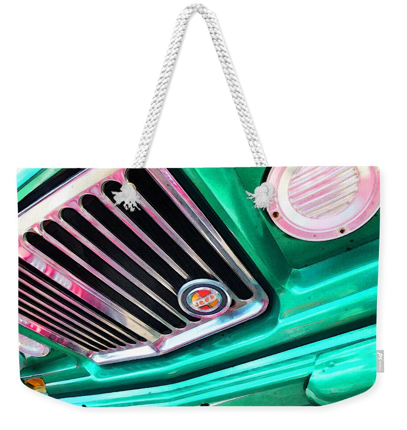 Jeep Weekender Tote Bag featuring the painting Vintage Jeep - J3000 Gladiator By Sharon Cummings by Sharon Cummings