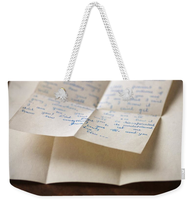 Letter Weekender Tote Bag featuring the photograph Vintage Letter by Lee Avison