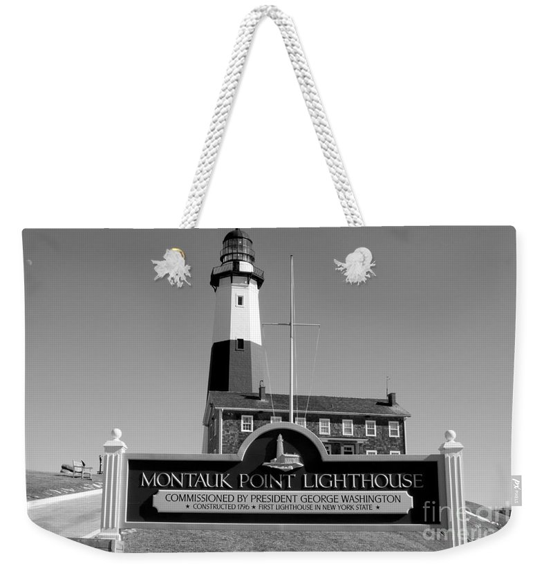 Vintage Looking Montauk Lighthouse Weekender Tote Bag featuring the photograph Vintage Looking Montauk Lighthouse by John Telfer