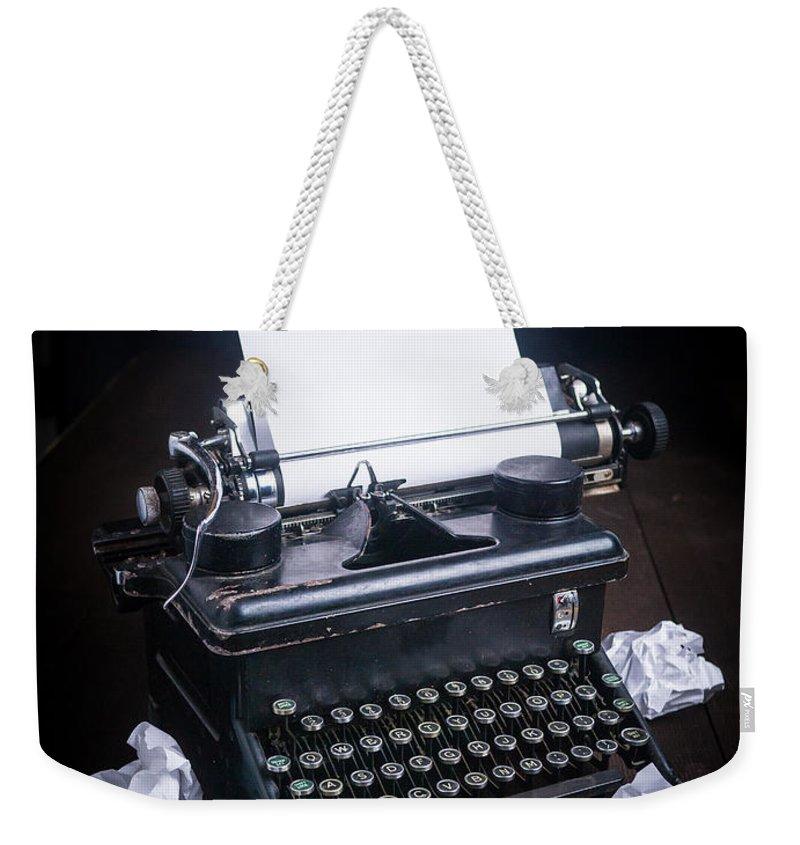 Typewriter Weekender Tote Bag featuring the photograph Vintage Manual Typewriter by Edward Fielding