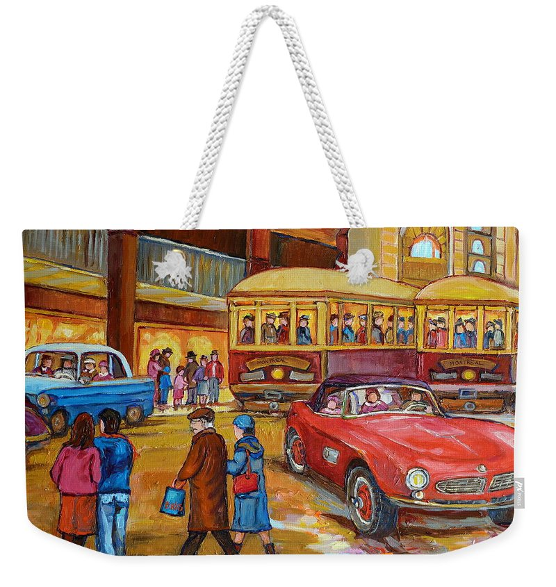 Montreal Weekender Tote Bag featuring the painting Vintage Montreal-st.catherine And Union-couples And Streetcars by Carole Spandau