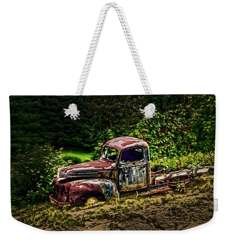Vintage Weekender Tote Bag featuring the photograph Vintage Old Forty's Pickup by Randall Branham