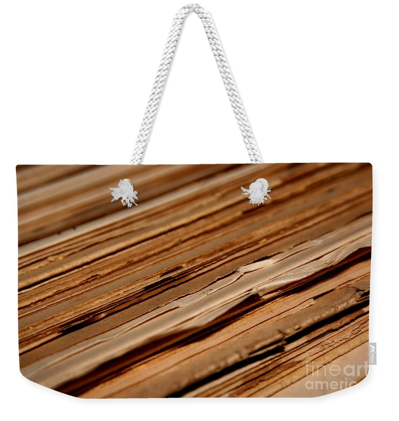 Abstract Weekender Tote Bag featuring the photograph Vintage Papers by Dan Radi