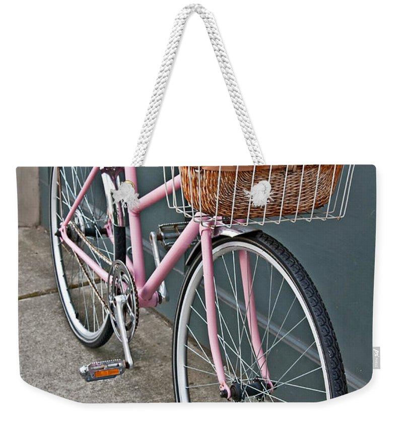 Vintage Bike Weekender Tote Bag featuring the photograph Vintage Pink Bicycle With Pink Flowers Art Prints by Valerie Garner