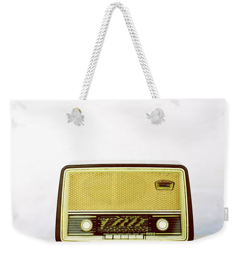 White Background Weekender Tote Bag featuring the photograph Vintage Radio by Thanasis Zovoilis